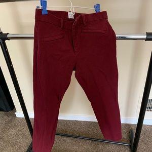 GAP maroon skinny ankle comfortable pants